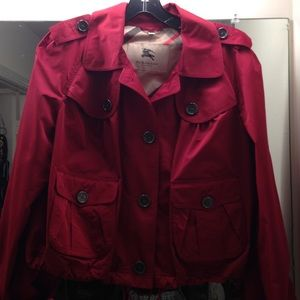 Burberry red women's short rain jacket